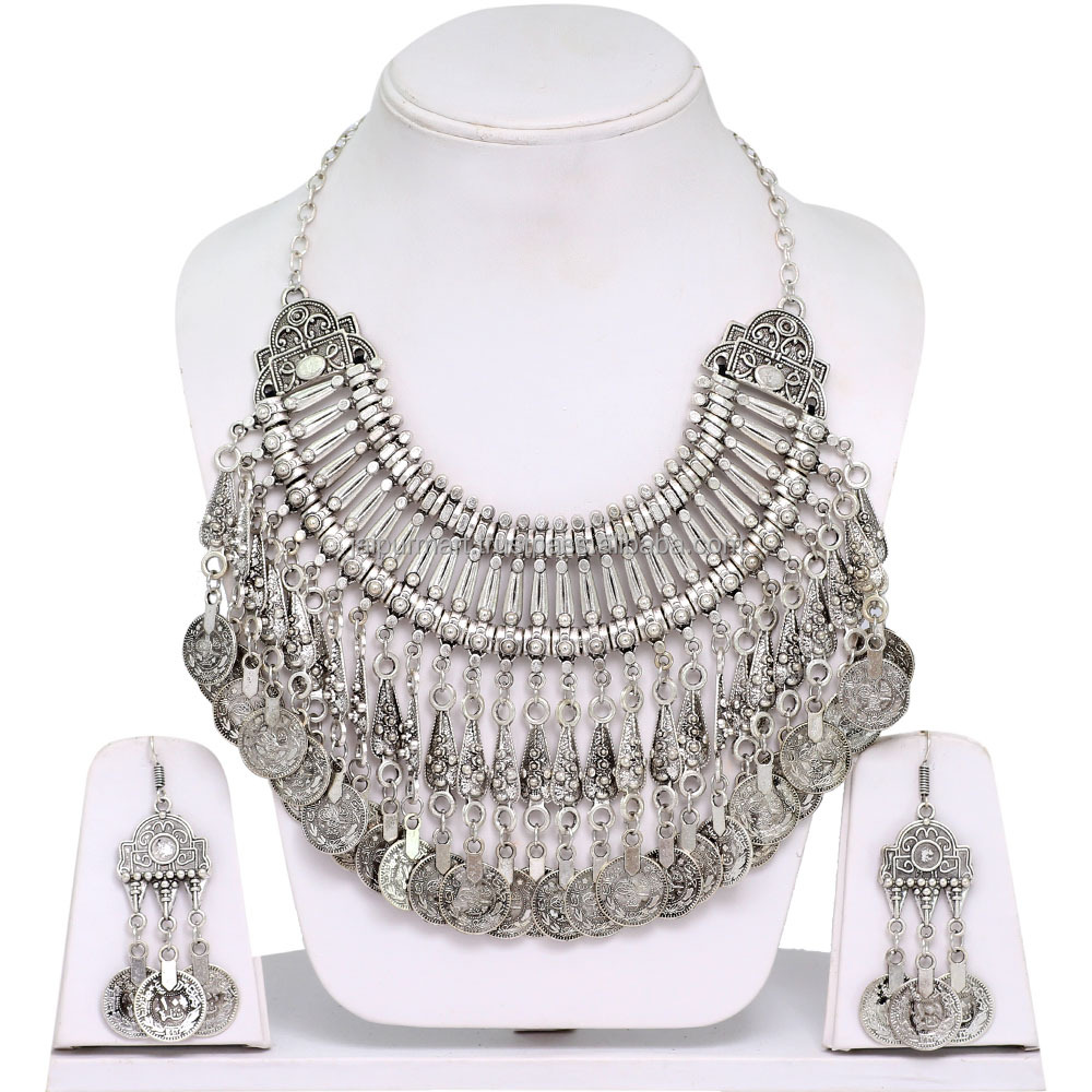 Wholesale Classic Ethnic Silver Oxidised Heavy Necklace with Earings for Dandiya and Garba
