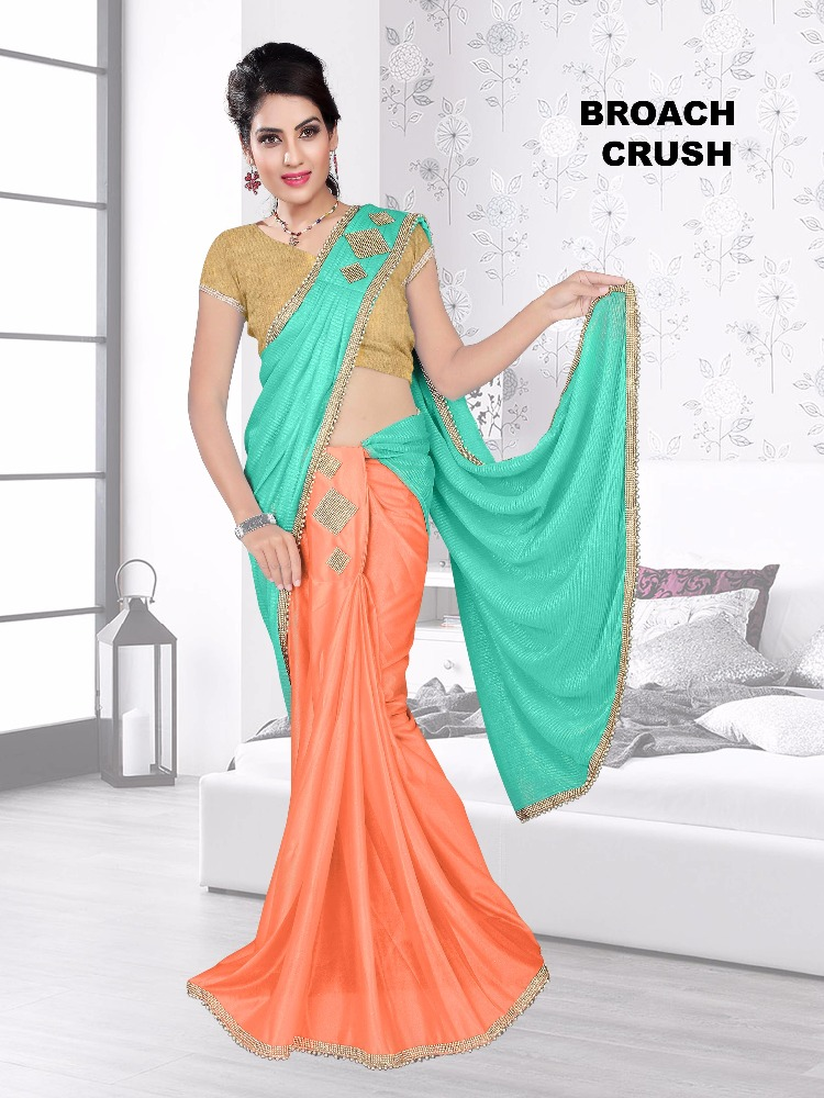 Broach Crush Designer Ready To Wear Saree