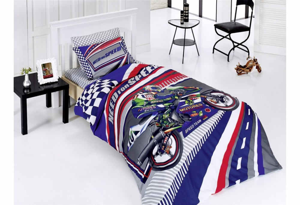 Blue Motorbike Printed Bedding Set Checkered Flag Design Single For Kids