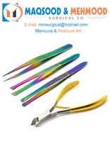 Gold Color Eyebrow Tweezers and Cuticle Nippers Clipper Manicure Facial Care