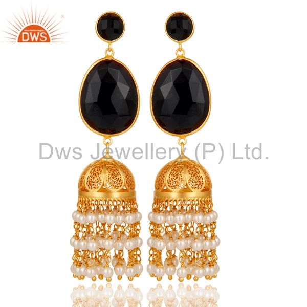 Indian Traditional Designer Jhumkas Gold Plated 925 Silver Earrings Natural Black Onyx And Pearl Gemstone Jewelry