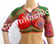 Indian Cotton Kutch handmade Embroidered Ready made Blouse-Indian Kutchi Embroidered Blouse Top
