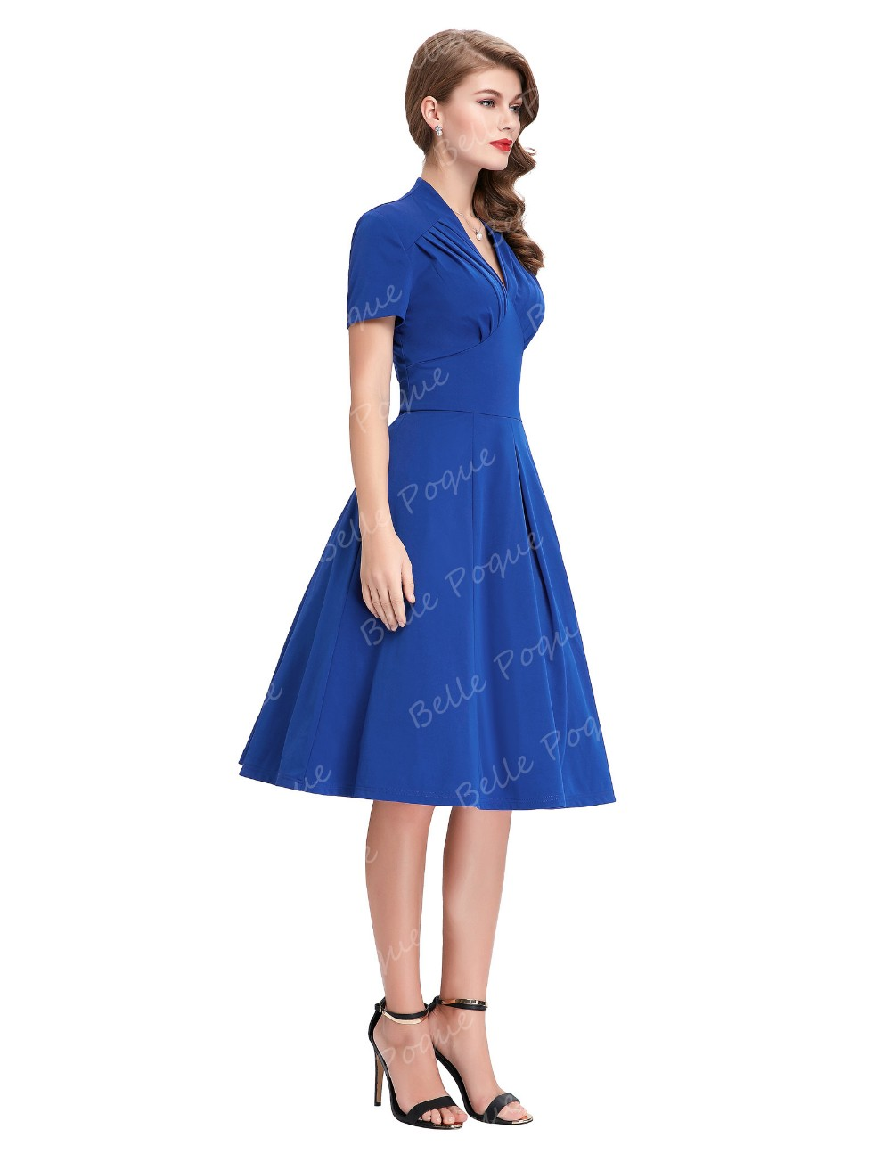 Belle Poque Stock Solid Color Short Sleeve V-Neck Blue Vintage Retro 50s Dress BP000070-2
