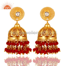 South Indian Gold Plated Silver Coral & Quartz Gemstone Jhumka Earrings Supplier of Indian Designer Jewelry