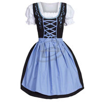 3 pcs Womens Red mini Dirndl Dress Oktoberfest Costume (Munich Clothing)