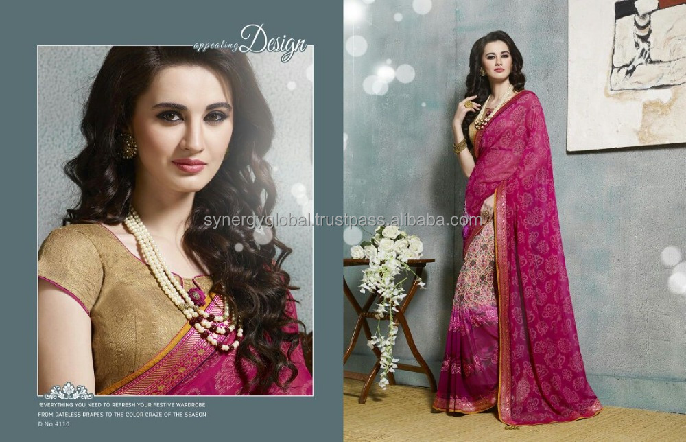 Daily wear Pakistani style printed gerogette sarees with light border work - Wholesale sarees online India - Surat sarees online