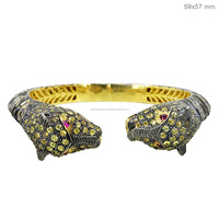 925 Sterling Silver Yellow Sapphire Gemstone Leopard Bangle 14k Gold Diamond Animal Designer Open Bangle Jewlery