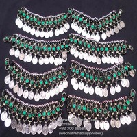 afghan handmade silver embroided anklet ur
