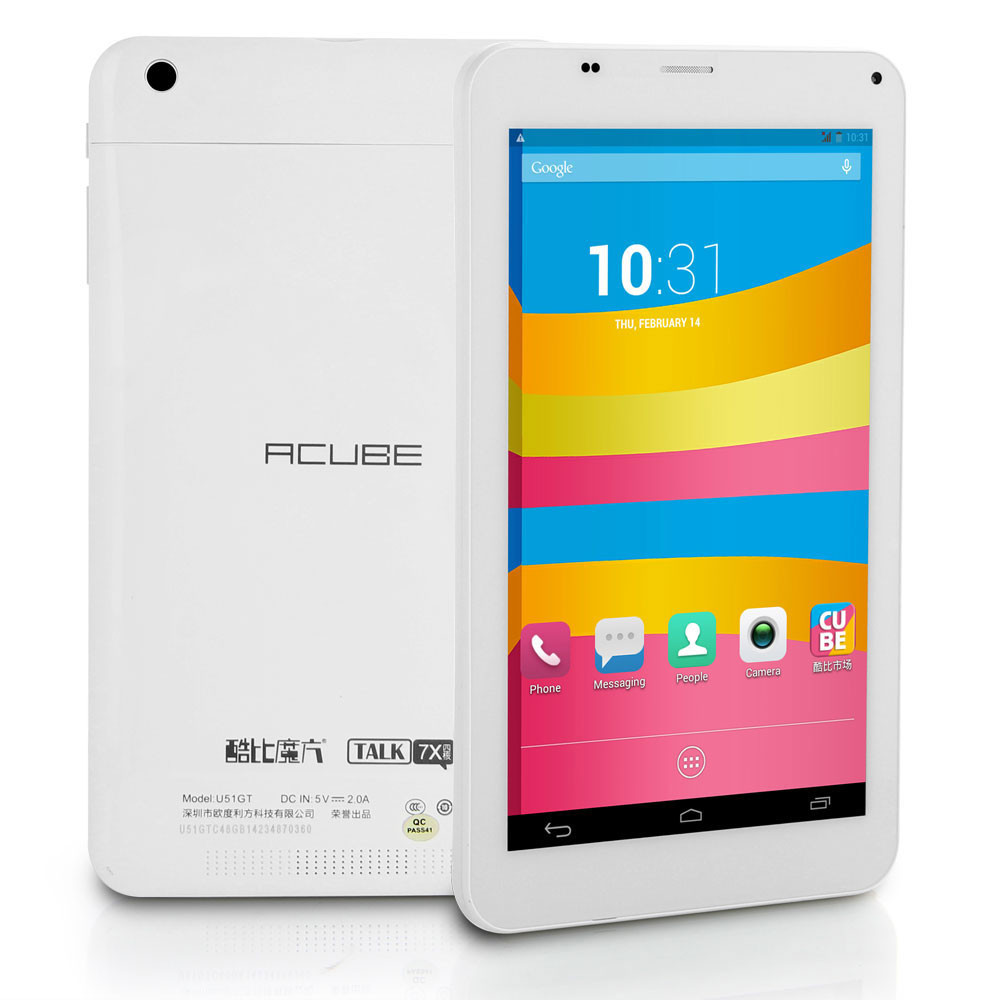 EU DHL Shipping Hot Cube Talk 7X 3G Phone Call Tablet PC 1GB RAM 8GB ROM MTK8382 Quad Core Android 4.2
