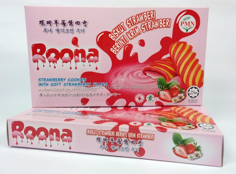 ROONA-STRAWBERRY COOKIES-SOFT STRAWBERRY FILLING-HAND MADE-VEGETARIAN-HALAL-MESTI-TOP MALAYSIA