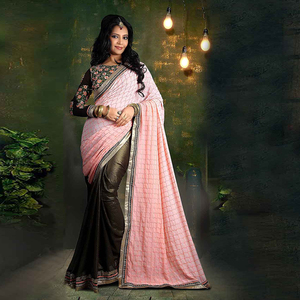 Light Pink Colored Chiffon & Georgette Embroidered Saree