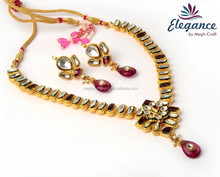 WHOLESALE KUNDAN BRIDAL NECKLACE SET-2015 KUNDAN JEWELLERY-INDIAN KUNDAN JADAU POLKI BRIDAL JEWELLERY SET
