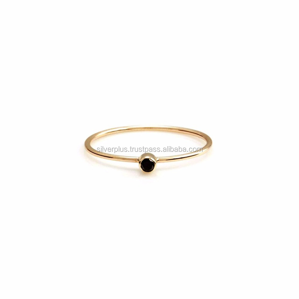 14k Gold Engagement Wedding Jewelry Black Diamond Solitaire Ring