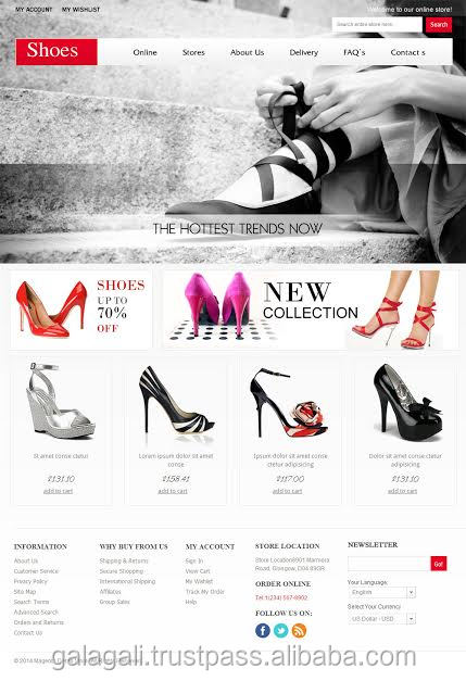Online Shopping Website Design Template and Development for Fashion and Footwear with SEO