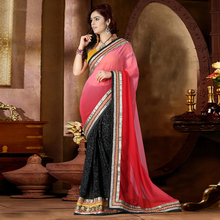 Pink Colored 60 gm Georgette Embroidered Saree With Blouse Pice