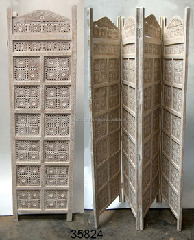 Antique Wooden Screen White 4 Panel Room Divider India