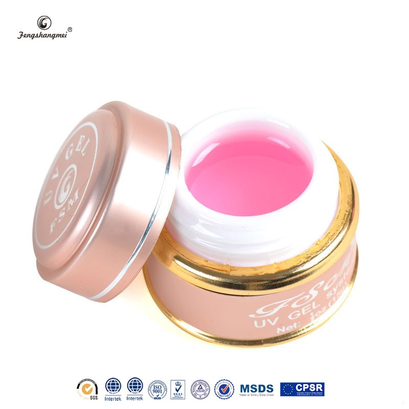 Professional builder gel pink nails uv gel