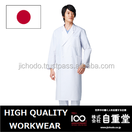 Double breasted white coat for men ( E80/C20 poplin ). Made by Japan