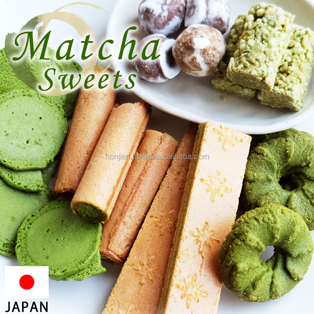 Individually packaged bite-sized matcha sweet food with no artificial coloring