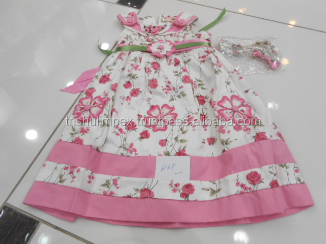 High Quality OEM Ruffle Girls Pink Princess a line Dress with Smocking