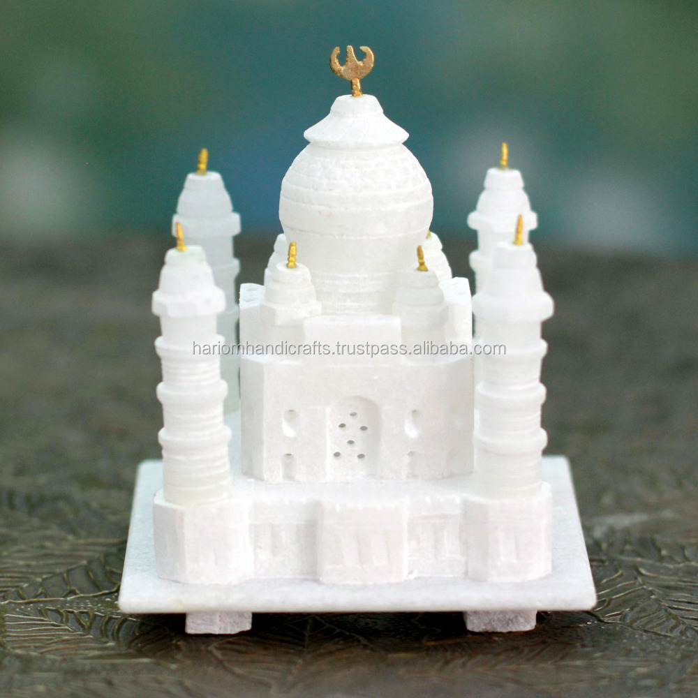 "3""x3"" White Marble Taj Mahal Miniature Model Gift Decorative Souvenir replica Gifts H2413"