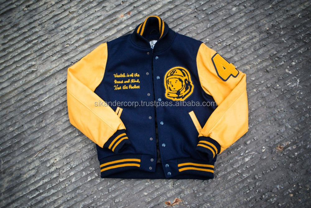 Varsity Jacket With Leather Sleeves And