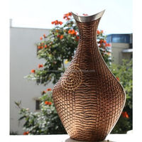 Decorative Aluminium Flower Vases With Copper Antique Finish