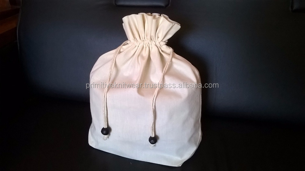 muslin drawstring bag/ Natural cotton drawstring packaging pouch.
