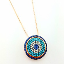 Wholesale Handmade Rose Plated, Turquoise Stone Turkish Evil Eye 925 Sterling Silver Necklace