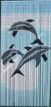 Wholesale room divider bamboo beaded painted door curtain dolphin trio