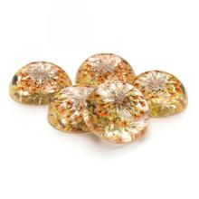 New Transparent Glass cabochon with Dried flower floral Flat Round flat back 25mm 5PCs/Bag 1141175