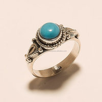 Turquoise gemstone 925 solid sterling silver vintage cabochon ring