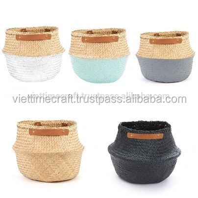 Belly segrass basket with leather handles, seagrass rice basket, Vietnam Basket