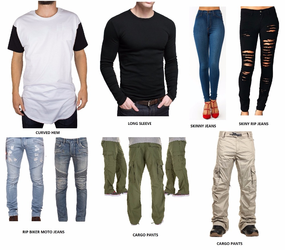 curved hem long elognated long sleeve t shirt biker moto rip distressed jeans pants cargo trouser pants