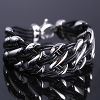 rope bracelet stainless steel jewelry manufacturer motorcycle link bracelet