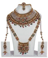 Indian Bollywood Style Crystal Made Exclusive Full Bridal Necklace Jewelry Set