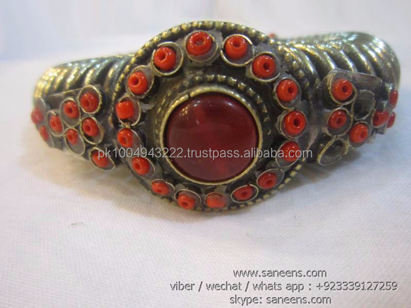 Kuchi Afghan Agate And Coral Stone Tribal Bellydance Hand Bangles Cuffs