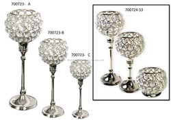 round crystal beads candle t-light holder with aluminium stem , silver polish crystal candle pillar holder with bowl
