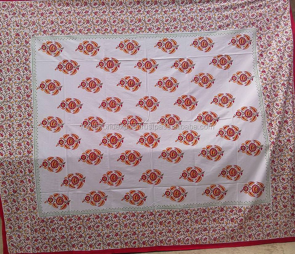 60S*40S 300TC 100% Block Print Bed Sheethotel wholesale 80*80s block print kantha bedding set