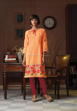 Women's Wear Orange Color Poly Linen Kurti