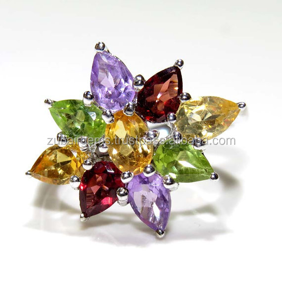 925 Sterling Silver Stylish Ring with Citrine , Peridot , Amethyst , Garnet on Wholesale price.