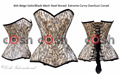 Beige Satin & Black Mesh Steel Boned Extreme Curvy Overbust Waist Training Corset, Manufacturer And Exporter Of Curvy Extended