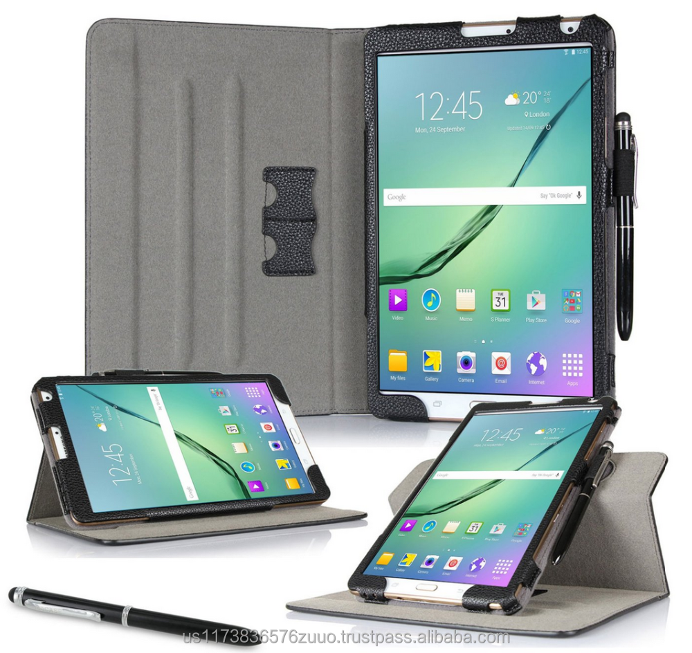 Dual View Slim Fit Premium PU Leather Folio case cover, detach inner sleeve for Galaxy Tab S2 8.0 roocase (Black)