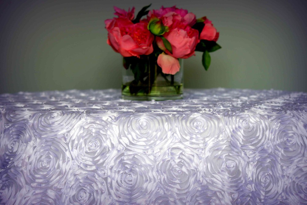 Rosette Satin Tablecloth & Overlay