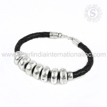 Nailing Fashion Of 925 Sterling Silver Leather Bracelet Jewelry Supplier Handmade Jewellery Wholesaler