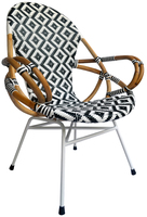 Retro France Arm chair with rattan natural and rattan synthetic