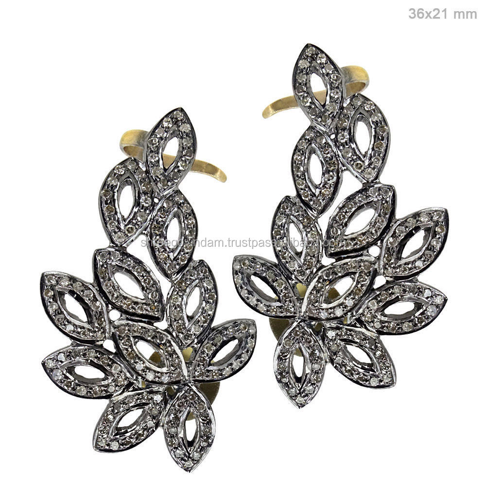Sterling Silver Earrings 1.5ct Pave Diamond Ear Cuffs Vintage Style Jewelry PO