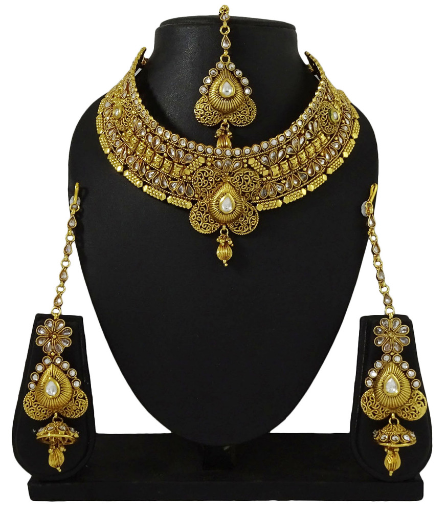 Traditional Indian Ethnic Goldtone 3Pcs Necklace Set Designer Bollywood Jewelry IMSM-BNS24A