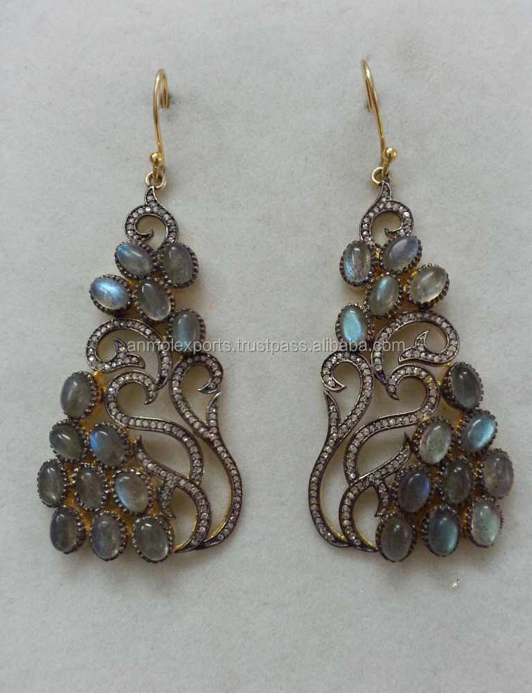 Pave Diamond earring Dangle Jewellery Multisapphire Gemstone Danglers, Wholesale pave diamond earring jewelry Anmol Export