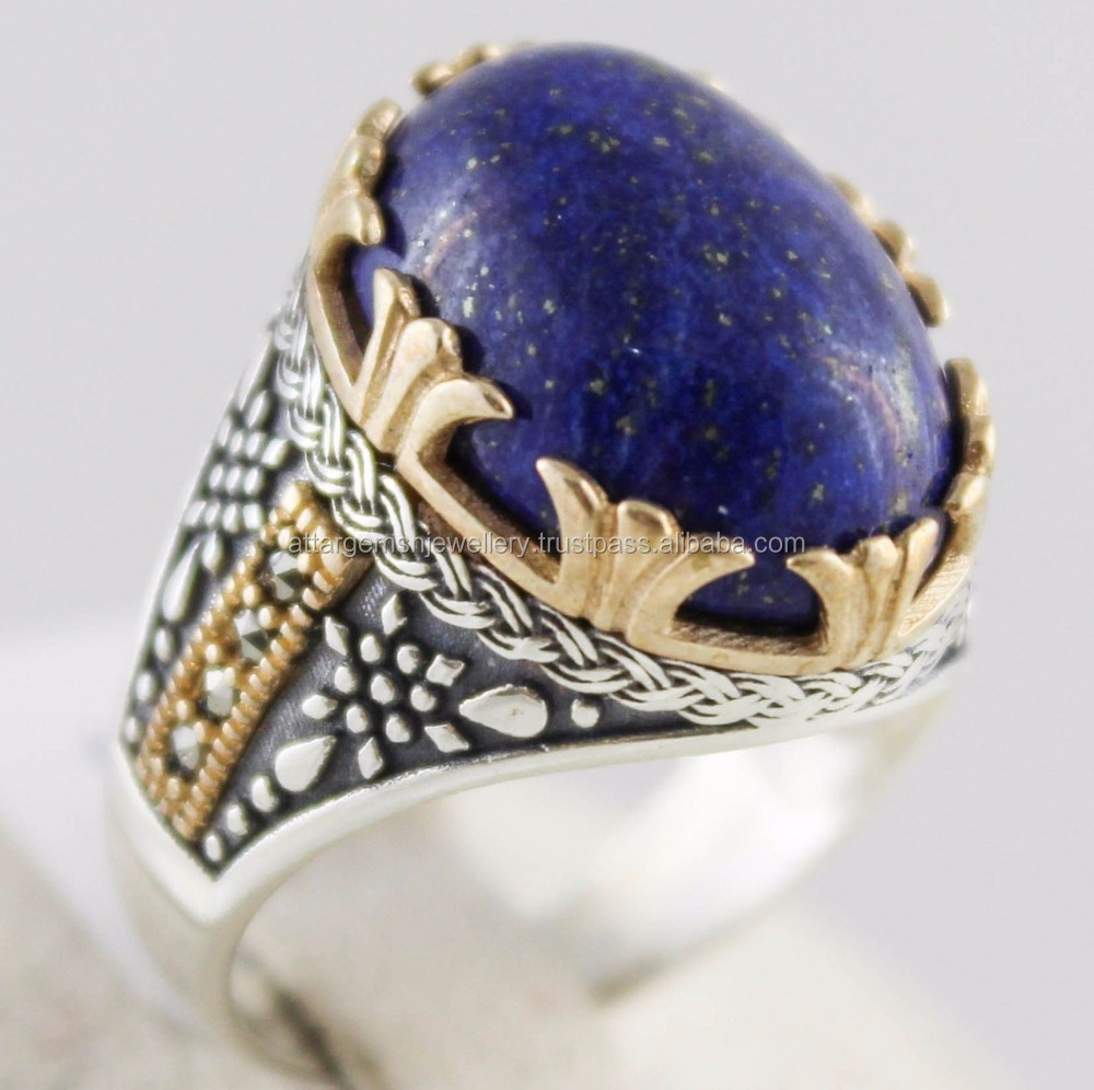Lapis-Lazuli-Lazord-Stone-925-Sterling silver rings for men,s